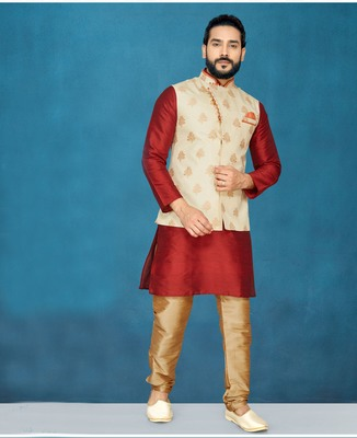 Red plain raw silk kurta pajama
