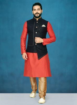 Red plain raw silk kurta pajama