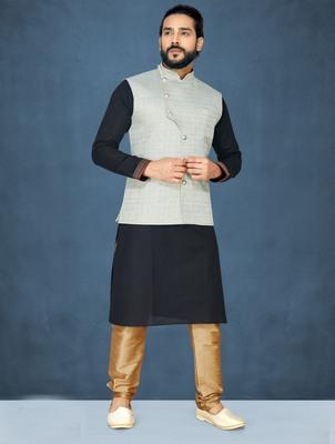 Black plain raw silk kurta pajama