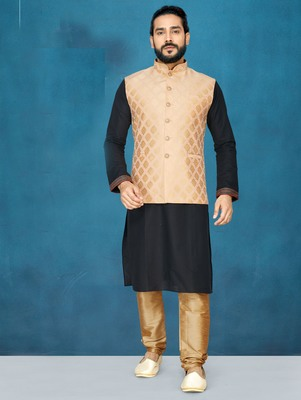 Black plain raw silk kurta pajama