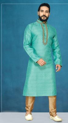 Green plain jaquard kurta pajama