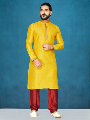 Yellow plain raw silk kurta pajama