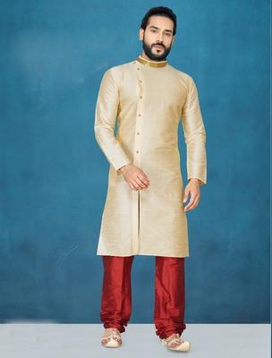 Beige plain raw silk kurta pajama