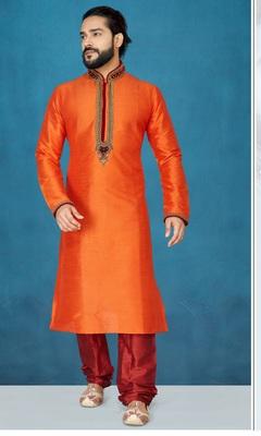 Orange plain raw silk kurta pajama