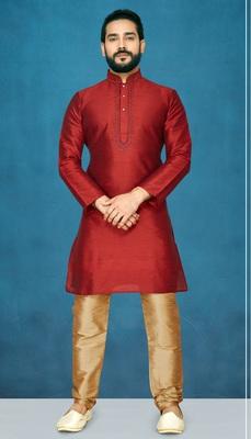 Maroon plain raw silk kurta pajama