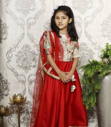 Floral Brocade Choli with red lehenga Set