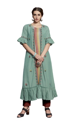 Sea-green embroidered crepe ethnic-kurtis
