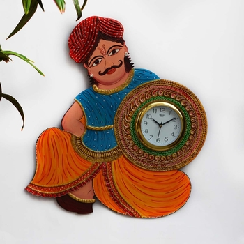 Papier-Mache Rajasthani Turban Man Handcrafted Wall Clock