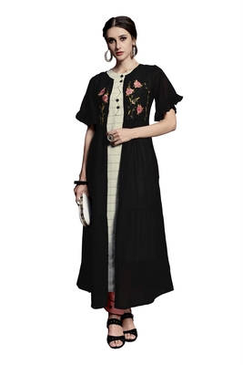 Black embroidered crepe ethnic-kurtis