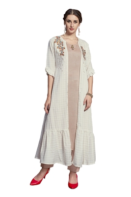 White embroidered crepe ethnic-kurtis