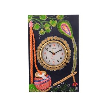 Wooden Papier Mache Matki Design Artistic Handcrafted Wall Clock