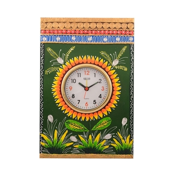 Wooden Papier Mache Green Leaves Artistic Handcrafted Wall Clock