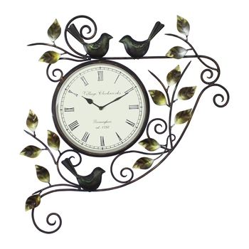 Leafs and Birds Design Handcrafted Iron Wall Clock