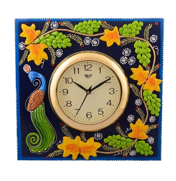 Wooden Papier Mache Peocock Design Artistic Handcrafted Wall Clock