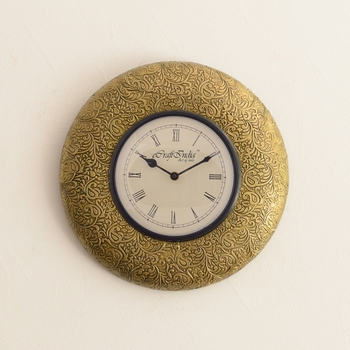 Embossed Golden Floral Design Wooden Handcrafted Wall Clock