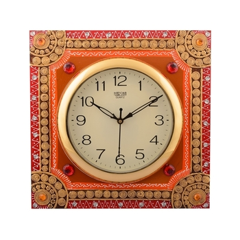Wooden Papier Mache Elegant Artistic Handcrafted Wall Clock