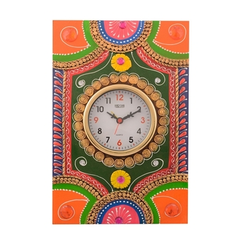 Wooden Papier Mache Traditional Work Artistic Handcrafted Wall Clock