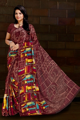 Brown printed satin saree with blouse