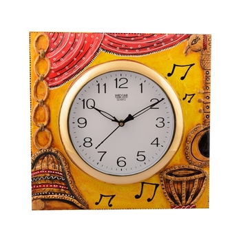 Wooden Musical Instrument Artistic Handcrafted Wall Clock