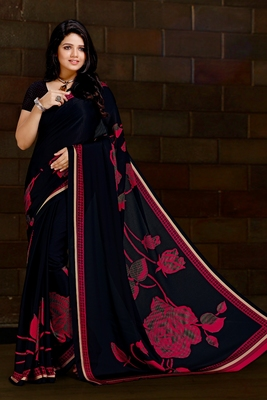 Black printed satin saree with blouse