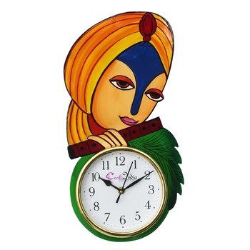 Krishna Playing Flute Handcrafted Wooden Wall Clock