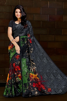 Grey printed satin saree with blouse