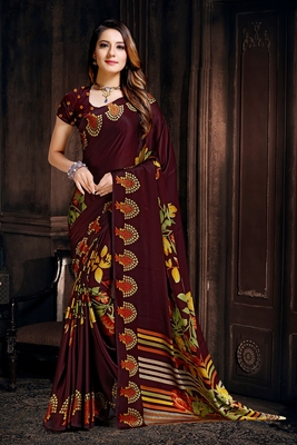 Coffee printed satin saree with blouse