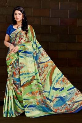 Green printed satin saree with blouse