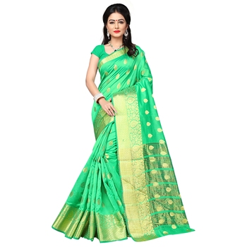 Lime woven banarasi silk saree with blouse