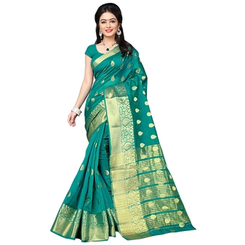 Teal woven banarasi silk saree with blouse