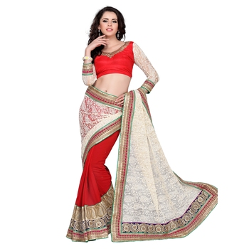 White embroidered net saree with blouse