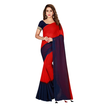 Multicolor woven georgette saree with blouse