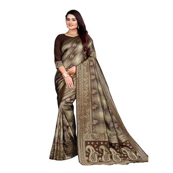 Brown woven banarasi silk saree with blouse