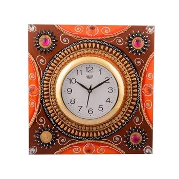 Wooden Papier Mache Rick Look Artistic Handcrafted Wall Clock