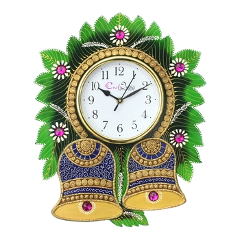 Floral Bell Design Handcrafted Wooden Wall Clock
