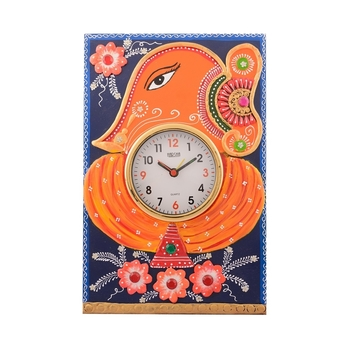 Wooden Papier Mache Lord Ganesha Artistic Handcrafted Wall Clock