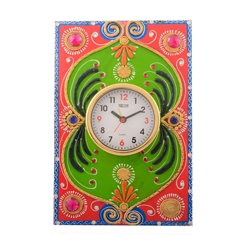Wooden Papier Mache Embossed Artistic Handcrafted Wall Clock