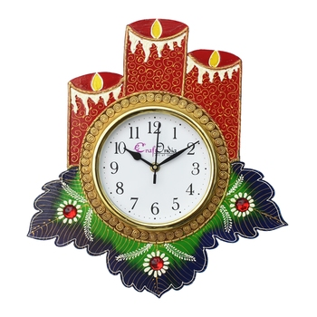 Floral Candle Design Handcrafted Wooden Wall Clock