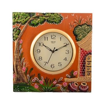 Wooden Papier Mache Garden View Artistic Handcrafted Wall Clock