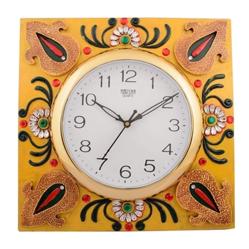 Wooden Papier Mache Decorative Embossed Handcrafted Wall Clock