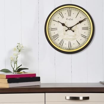 Retro Analog Round Black And Golden Wall Clock