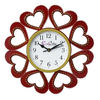 Heart Shape Design Handcrafted Wooden Wall Clock