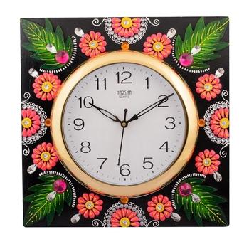 Wooden Papier Mache Florid Leaf Design Handcrafted Wall Clock