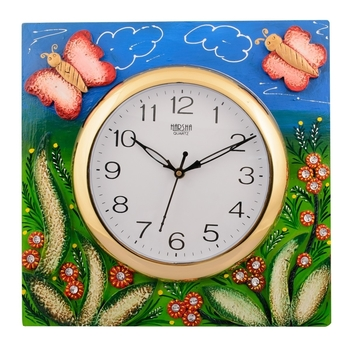 Wooden Papier Mache Butterfly Aqua Kids Handcrafted Wall Clock