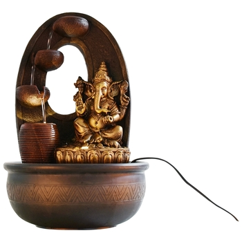 Golden Textured Lord Ganesha Water Fountain