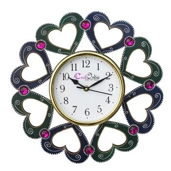Heart Shape Design Handcrafted Wooden Wall Clock