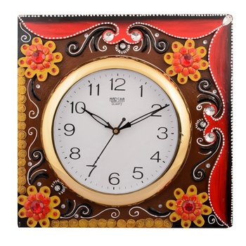 Wooden Papier Mache Floral Embossed Handcrafted Wall Clock