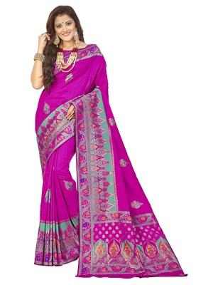Pink embroidered banarasi silk saree with blouse