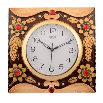Wooden Papier Mache Adorning Floral Handcrafted Wall Clock