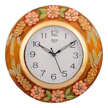 Wooden Papier Mache Embossed Flowers Handcrafted Wall Clock